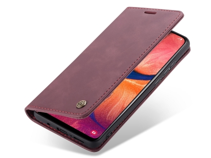 CaseMe Slim Synthetic Leather Wallet Case with Stand for Samsung Galaxy A20 - Burgundy Leather Wallet Case