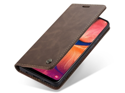 CaseMe Slim Synthetic Leather Wallet Case with Stand for Samsung Galaxy A20 - Chocolate Leather Wallet Case