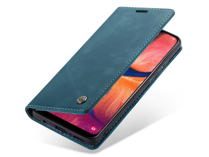 CaseMe Slim Synthetic Leather Wallet Case with Stand for Samsung Galaxy A30 - Teal Leather Wallet Case