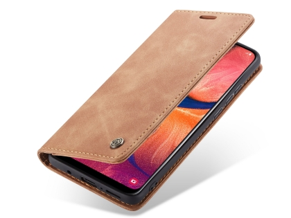 CaseMe Slim Synthetic Leather Wallet Case with Stand for Samsung Galaxy A50 - Tan Leather Wallet Case