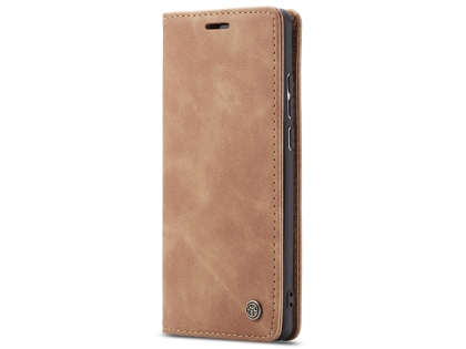 CaseMe Slim Synthetic Leather Wallet Case with Stand for Samsung Galaxy A50 - Beige Leather Wallet Case