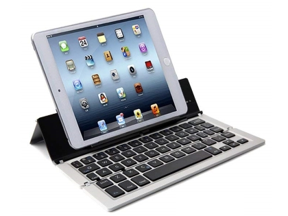 Ultra Portable Bluetooth Mini Keyboard with stand - Silver Keyboard