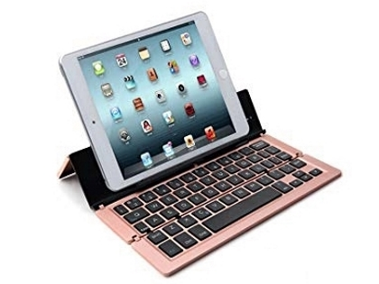 Ultra Portable Bluetooth Mini Keyboard with Stand - Rose Gold Keyboard
