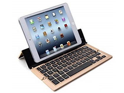Ultra Portable Bluetooth Mini Keyboard with Stand - Gold Keyboard