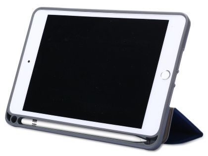 Slim Synthetic Leather Case with Stand and Pen Holder for the iPad mini - Navy Blue Leather Flip Case