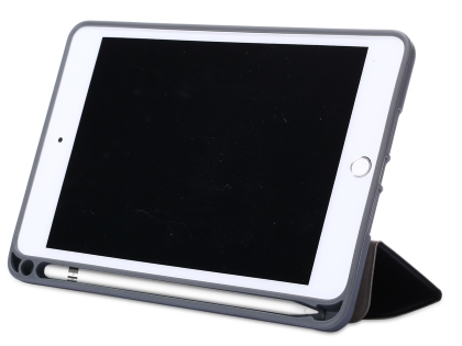 Slim Synthetic Leather Case with Stand and Pen Holder for the iPad mini - Black Leather Flip Case