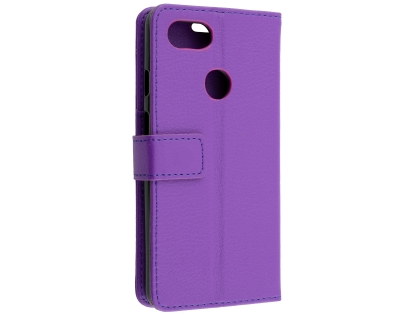 Synthetic Leather Wallet Case with Stand for Google Pixel 3a XL - Purple Leather Wallet Case