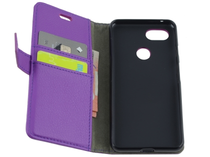 Synthetic Leather Wallet Case with Stand for Google Pixel 3a XL - Purple