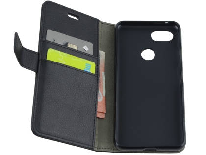 Synthetic Leather Wallet Case with Stand for Google Pixel 3a XL - Black