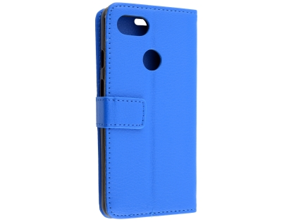 Synthetic Leather Wallet Case with Stand for Google Pixel 3a - Blue Leather Wallet Case