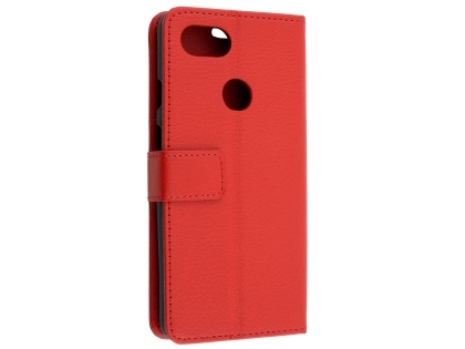 Synthetic Leather Wallet Case with Stand for Google Pixel 3a - Red Leather Wallet Case