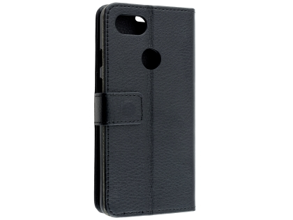Synthetic Leather Wallet Case with Stand for Google Pixel 3a - Black Leather Wallet Case