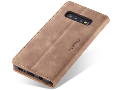 CaseMe Slim Synthetic Leather Wallet Case with Stand for Samsung Galaxy S10 5G - Tan