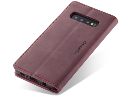 CaseMe Slim Synthetic Leather Wallet Case with Stand for Samsung Galaxy S10 5G - Burgundy Leather Wallet Case