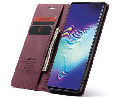 CaseMe Slim Synthetic Leather Wallet Case with Stand for Samsung Galaxy S10 5G - Burgundy
