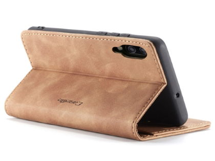 CaseMe Slim Synthetic Leather Wallet Case with Stand for Samsung Galaxy A50 - Beige