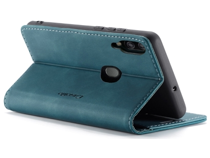 CaseMe Slim Synthetic Leather Wallet Case with Stand for Samsung Galaxy A20 - Teal