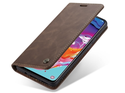 CaseMe Slim Synthetic Leather Wallet Case with Stand for Samsung Galaxy A70 - Chocolate Leather Wallet Case