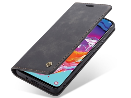 CaseMe Slim Synthetic Leather Wallet Case with Stand for Samsung Galaxy A70 - Charcoal Leather Wallet Case