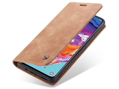 CaseMe Slim Synthetic Leather Wallet Case with Stand for Samsung Galaxy A70 - Tan Leather Wallet Case
