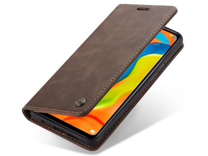 CaseMe Slim Synthetic Leather Wallet Case with Stand for Huawei P30 Lite - Chocolate Leather Wallet Case