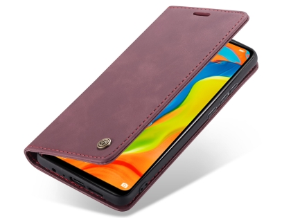 CaseMe Slim Synthetic Leather Wallet Case with Stand for Huawei P30 Lite - Burgundy Leather Wallet Case