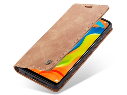 CaseMe Slim Synthetic Leather Wallet Case with Stand for Huawei P30 Lite - Beige Leather Wallet Case