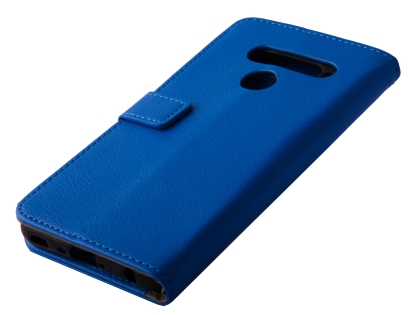 Synthetic Leather Wallet Case with Stand for LG V50 ThinQ - Blue Leather Wallet Case