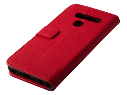 Synthetic Leather Wallet Case with Stand for LG V50 ThinQ - Red Leather Wallet Case