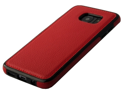Synthetic Leather Back Cover for Samsung Galaxy S7 Edge - Red Leather Case