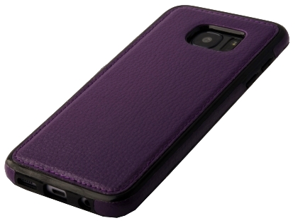 Synthetic Leather Back Cover for Samsung Galaxy S7 Edge - Purple Leather Case