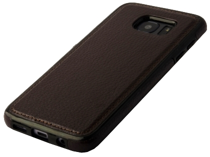 Synthetic Leather Back Cover for Samsung Galaxy S7 Edge - Brown Leather Case