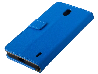 Synthetic Leather Wallet Case with Stand for Nokia 1 Plus - Blue Leather Wallet Case
