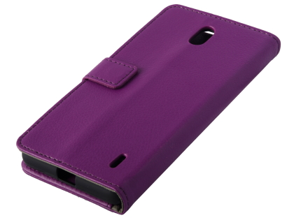 Synthetic Leather Wallet Case with Stand for Nokia 1 Plus - Purple Leather Wallet Case