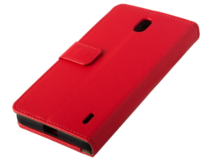 Synthetic Leather Wallet Case with Stand for Nokia 1 Plus - Red Leather Wallet Case