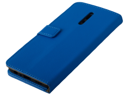 Synthetic Leather Wallet Case with Stand for OPPO Reno Z - Blue Leather Wallet Case