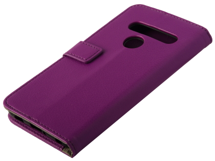 Synthetic Leather Wallet Case with Stand for LG G8S ThinQ - Purple Leather Wallet Case