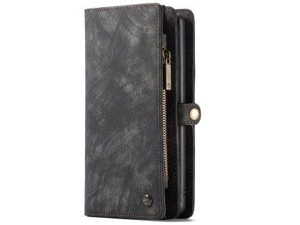 CaseMe 2-in-1 Synthetic Leather Wallet Case for Samsung Galaxy Note10 - Khaki/Grey Leather Wallet Case