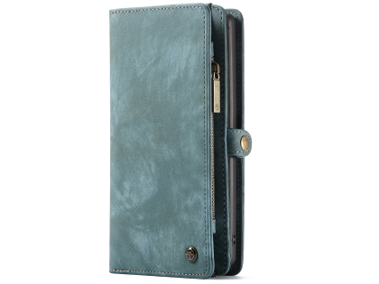 CaseMe 2-in-1 Synthetic Leather Wallet Case for Samsung Galaxy Note10 - Teal/Ash Leather Wallet Case