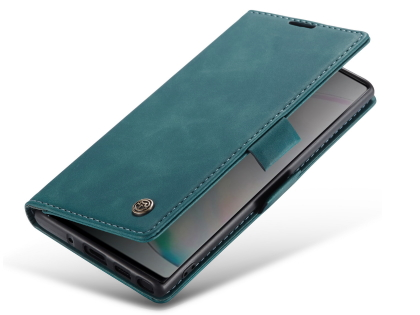 CaseMe Slim Synthetic Leather Wallet Case with Stand for Samsung Galaxy Note10 - Teal Leather Wallet Case