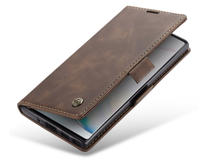 CaseMe Slim Synthetic Leather Wallet Case with Stand for Samsung Galaxy Note10 - Chocolate Leather Wallet Case