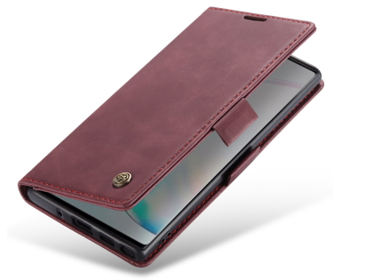 CaseMe Slim Synthetic Leather Wallet Case with Stand for Samsung Galaxy Note10 - Burgundy Leather Wallet Case