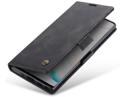CaseMe Slim Synthetic Leather Wallet Case with Stand for Samsung Galaxy Note10 - Charcoal Leather Wallet Case