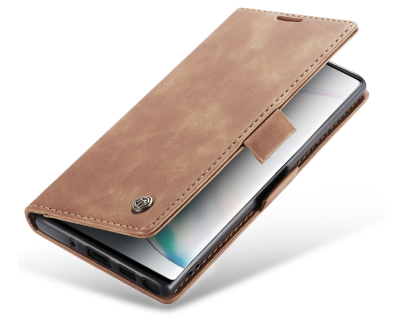 CaseMe Slim Synthetic Leather Wallet Case with Stand for Samsung Galaxy Note10 - Tan Leather Wallet Case