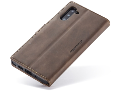CaseMe Slim Synthetic Leather Wallet Case with Stand for Samsung Galaxy Note10 - Chocolate