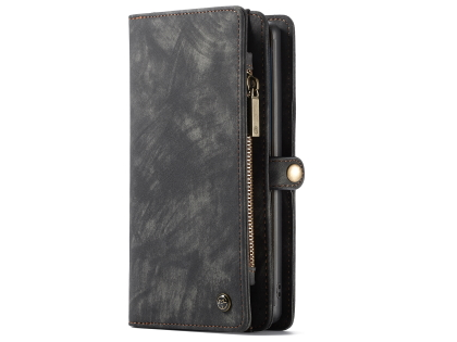 CaseMe 2-in-1 Synthetic Leather Wallet Case for Samsung Galaxy Note10+ - Charcoal Leather Wallet Case