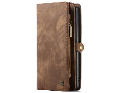 CaseMe 2-in-1 Synthetic Leather Wallet Case for Samsung Galaxy Note10+ - Brown Leather Wallet Case