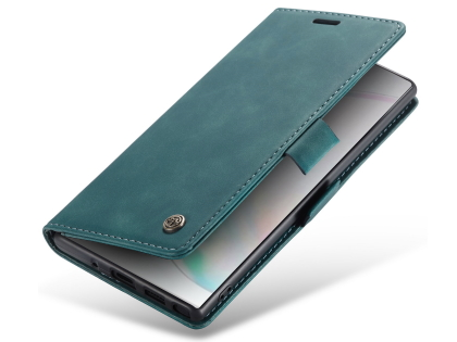 CaseMe Slim Synthetic Leather Wallet Case with Stand for Samsung Galaxy Note10+ - Teal Leather Wallet Case