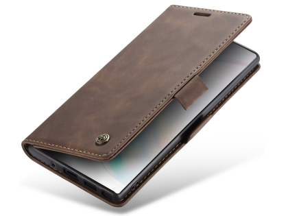 CaseMe Slim Synthetic Leather Wallet Case with Stand for Samsung Galaxy Note10+ - Chocolate Leather Wallet Case