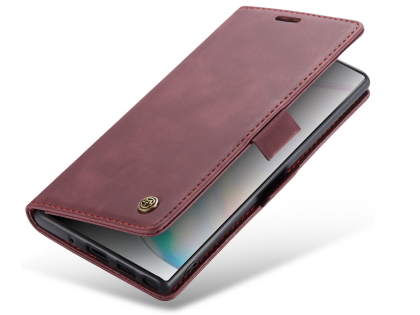 CaseMe Slim Synthetic Leather Wallet Case with Stand for Samsung Galaxy Note10+ - Burgundy Leather Wallet Case